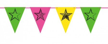 Neon Party Flag Banner 6m