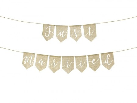 Banner Just married 23x185cm Jute