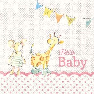 Servietter Hello Baby Light Rose Lunsj 20 stk