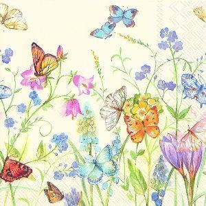 Servietter Butterflies and Blossoms Kaffe 20 stk