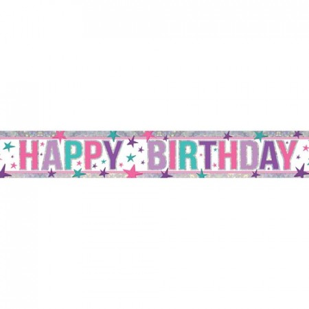Holographic Happy Birthday Pink Foliebanner 2.7m NY