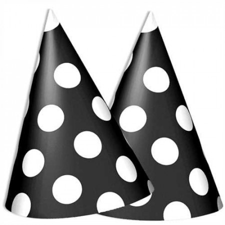 Dots Party Hatter 8 stk Svart