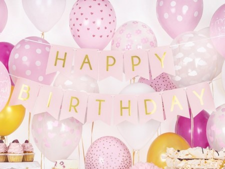 Banner Happy Birthday light pink 15x175cm