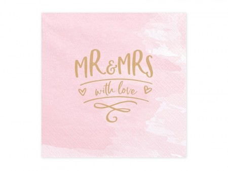 Servietter Mr & Mrs With Love 20stk