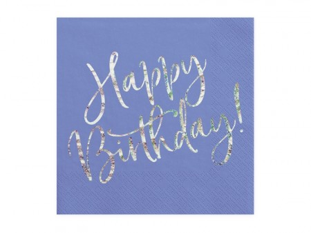 Servietter Happy Birthday navyblue holographic 20stk