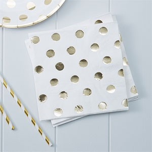 Servietter Hvit Metallic gull Polka Dot 20 stk