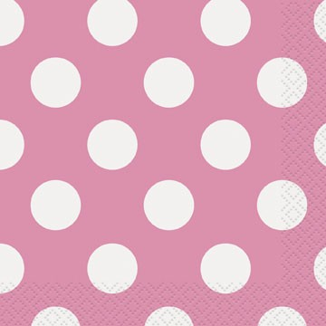 Polka Dot Lunsjservietter Hot Pink