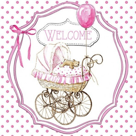 Servietter Welcome pink 20stk Lunsj