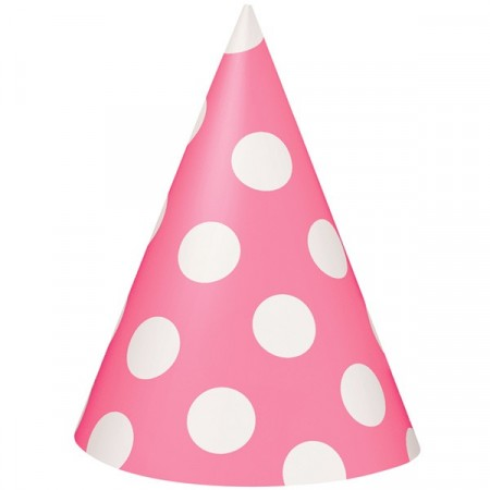 Dots Party Hatter 8 stk Pink