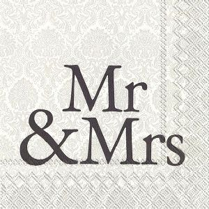 Servietter MR & Mrs Black Lunsj 20 stk