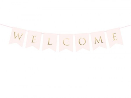 Banner Welcome light pink 15x95cm