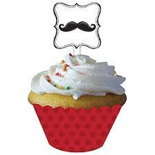 Moustache Madness Cupcake Wrappers with Picks 12 stk