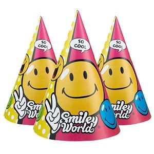 Smiley World Partyhatter 6stk