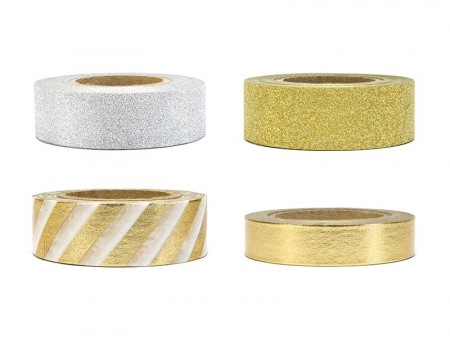 Decorative tape mix 4stk 10meter Gull (Washi Tape)