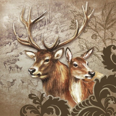 Servietter Deer Couple Brown Lunsj 20stk