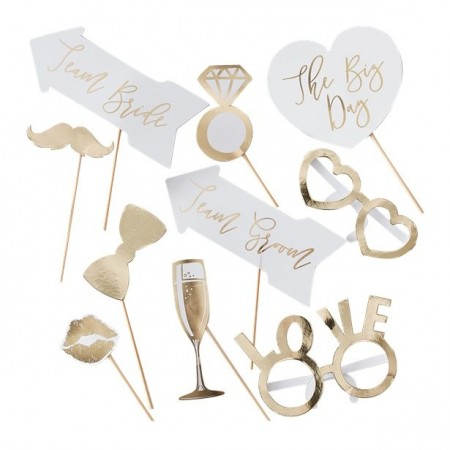 Gold Wedding Photo Booth Props 10stk