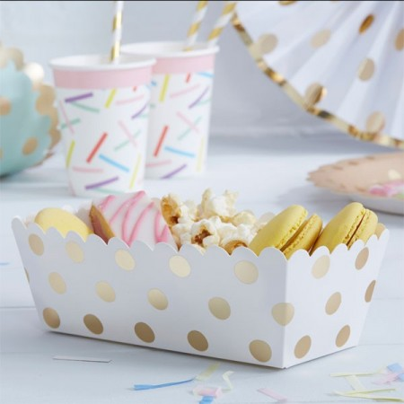 Hvit Metallic Polka Dot Food Trays 5 stk