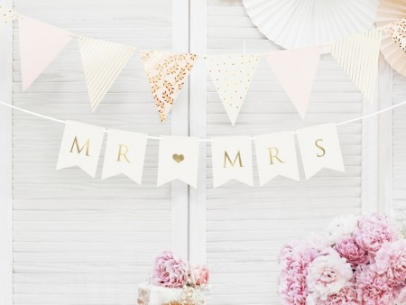 Banner Mr Mrs Hvit 15x85cm