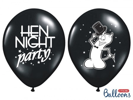 Ballonger Hen night party Svart 6 stk