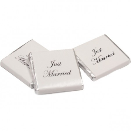 Just Married Silver Chocolate Neapolitans 1stk