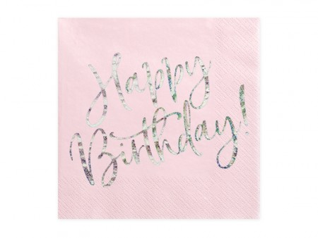 Servietter Happy Birthday powderpink holographic 20stk