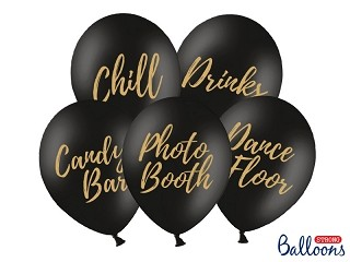 Ballonger Candy Bar, Chill, Dance Floor, Drinks, Photo Booth, 5stk Svart