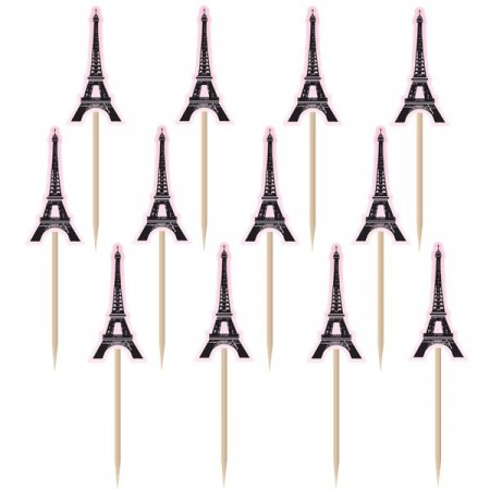 A Day in Paris Eiffel Tower Printed Paper Picks 36 stk