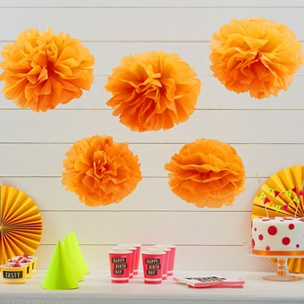 Pom Poms Orange 5 Stk